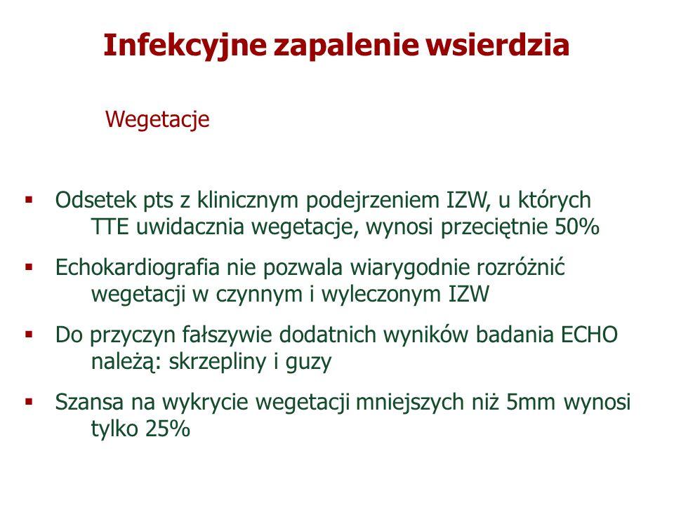 Infekcyjne zapalenie wsierdzia Wegetacje Odsetek pts z klinicznym podejrzeniem IZW, u których TTE uwidacznia wegetacje, wynosi przeciętnie 50% Echokar