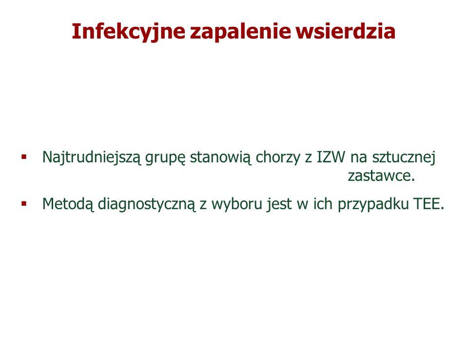 Infekcyjne zapalenie wsierdzia Leczenie operacyjne czynnego IZW IZW wcześnie po wszczepieniu protezy zastawkowej Hemodynamicznie istotna dysfunkcja protezy zastawkowej Szerzenie się zakażenia na tkanki okołozastawkowe Ostra niedomykalność aortalna lub mitralna Utrzymywanie się zakażenia po upływie 7-10 dni antybiotykoterapii Zajęcie struktur okołozastawkowych ( ropień ) Zakażenie drobnoustrojem słabo reagującym na leczenie zachowawcze ( grzyby ) Nawracające zatory Ruchome wegetacje wielkości > 10 mm Leczenie operacyjne czynnego IZW IZW wcześnie po wszczepieniu protezy zastawkowej Hemodynamicznie istotna dysfunkcja protezy zastawkowej Szerzenie się zakażenia na tkanki okołozastawkowe Ostra niedomykalność aortalna lub mitralna Utrzymywanie się zakażenia po upływie 7-10 dni antybiotykoterapii Zajęcie struktur okołozastawkowych ( ropień ) Zakażenie drobnoustrojem słabo reagującym na leczenie zachowawcze ( grzyby ) Nawracające zatory Ruchome wegetacje wielkości > 10 mm