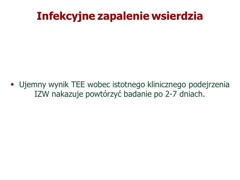 Infekcyjne zapalenie wsierdzia Ujemny wynik TTE i TEE pozwala wykluczyć prawdopodobieństwo IZW w 95%.