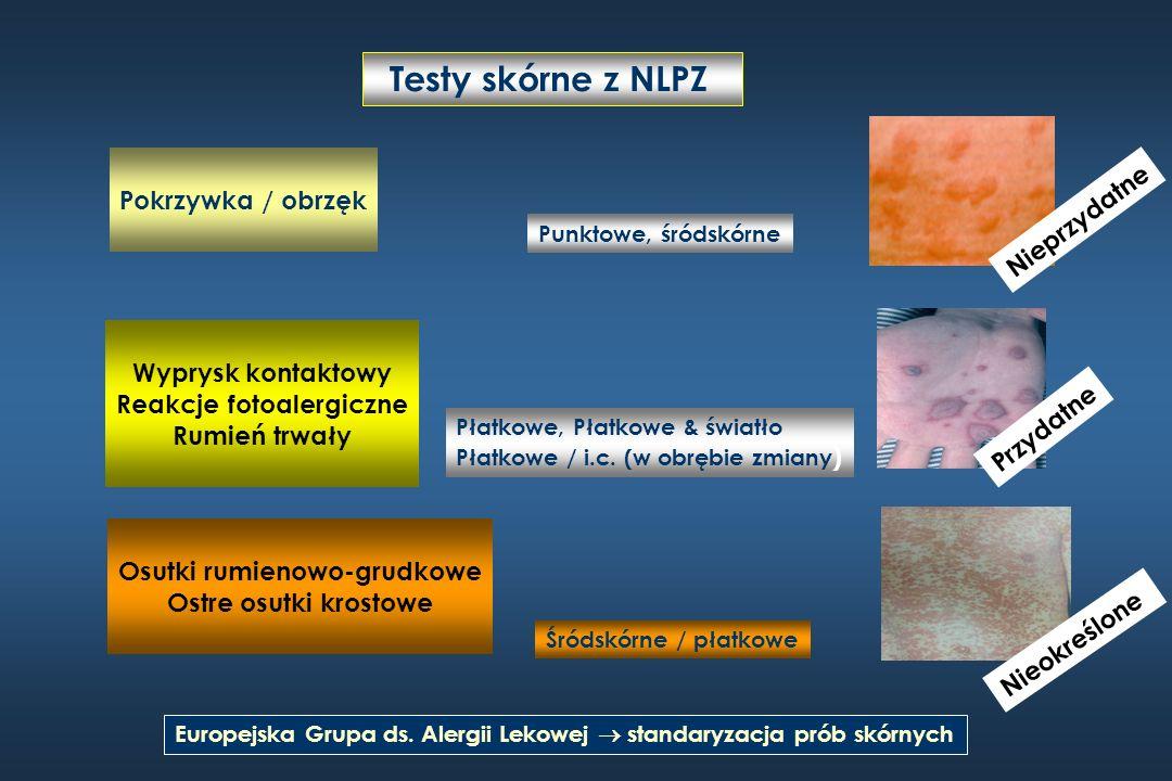 Testy skórne z NLPZ Europejska Grupa ds. Alergii Lekowej standaryzacja prób skórnych Nieprzydatne Punktowe, śródskórne Wyprysk kontaktowy Reakcje foto