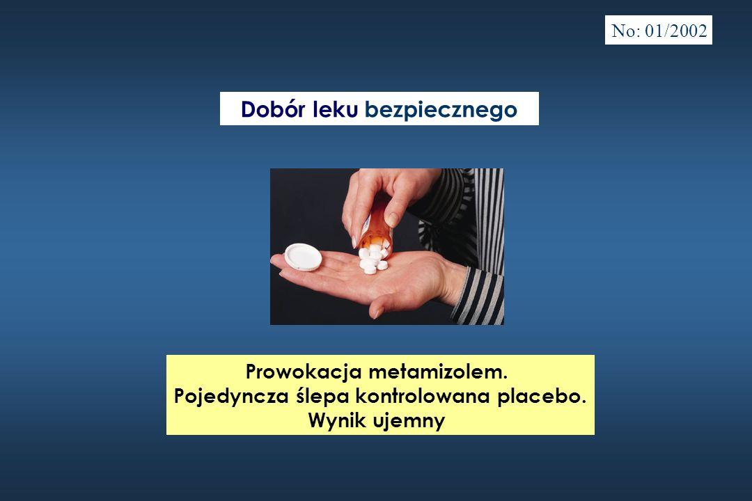 Prowokacja metamizolem. Pojedyncza ślepa kontrolowana placebo. Wynik ujemny Dobór leku bezpiecznego No: 01/2002