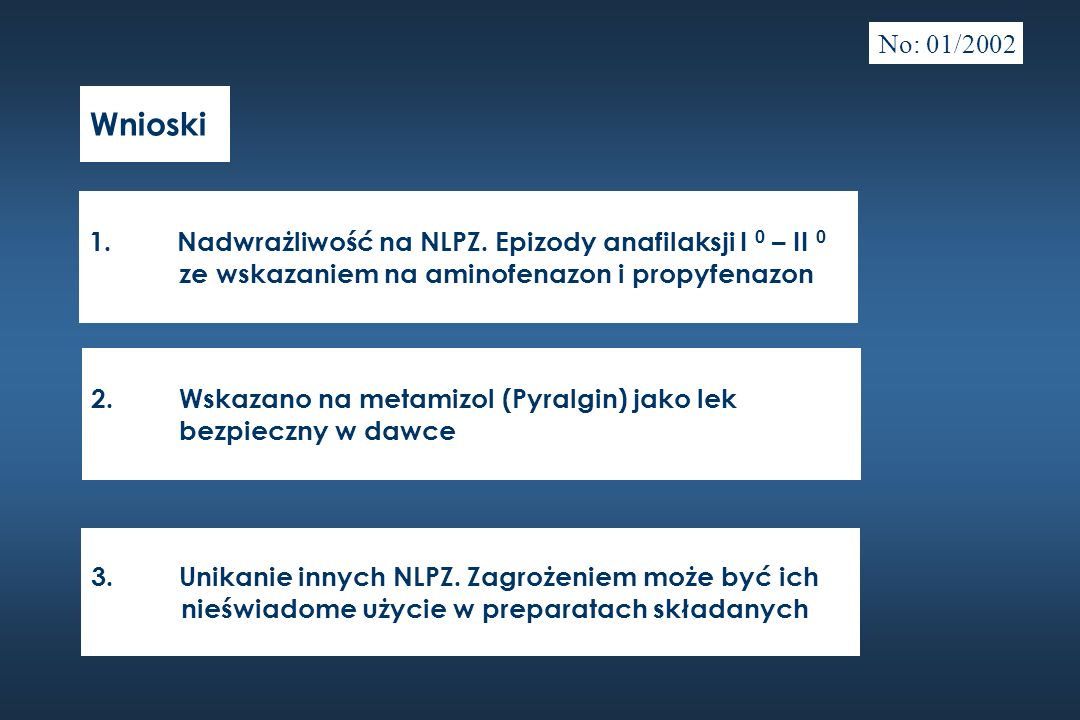 Wnioski 1.Nadwrażliwość na NLPZ. Epizody anafilaksji I 0 – II 0 ze wskazaniem na aminofenazon i propyfenazon 2.Wskazano na metamizol (Pyralgin) jako l