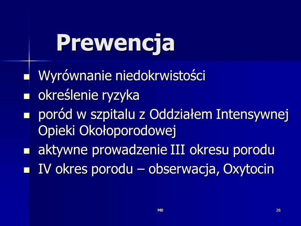 MB26 Prewencja Wyrównanie niedokrwistości Wyrównanie niedokrwistości określenie ryzyka określenie ryzyka poród w szpitalu z Oddziałem Intensywnej Opie