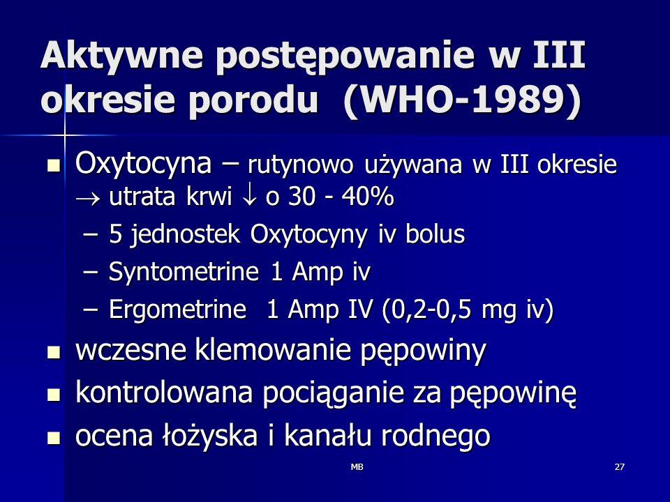 MB27 Aktywne postępowanie w III okresie porodu (WHO-1989) Oxytocyna – rutynowo używana w III okresie utrata krwi o 30 - 40% Oxytocyna – rutynowo używa