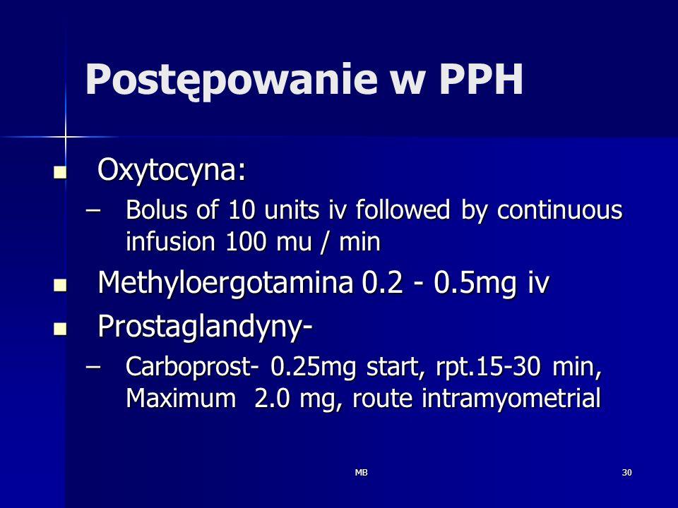 MB30 Oxytocyna: Oxytocyna: –Bolus of 10 units iv followed by continuous infusion 100 mu / min Methyloergotamina 0.2 - 0.5mg iv Methyloergotamina 0.2 -