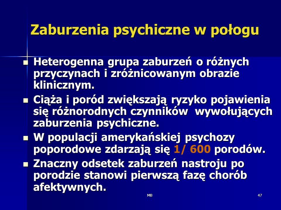 MB47 Zaburzenia psychiczne w połogu Heterogenna grupa zaburzeń o różnych przyczynach i zróżnicowanym obrazie klinicznym. Heterogenna grupa zaburzeń o
