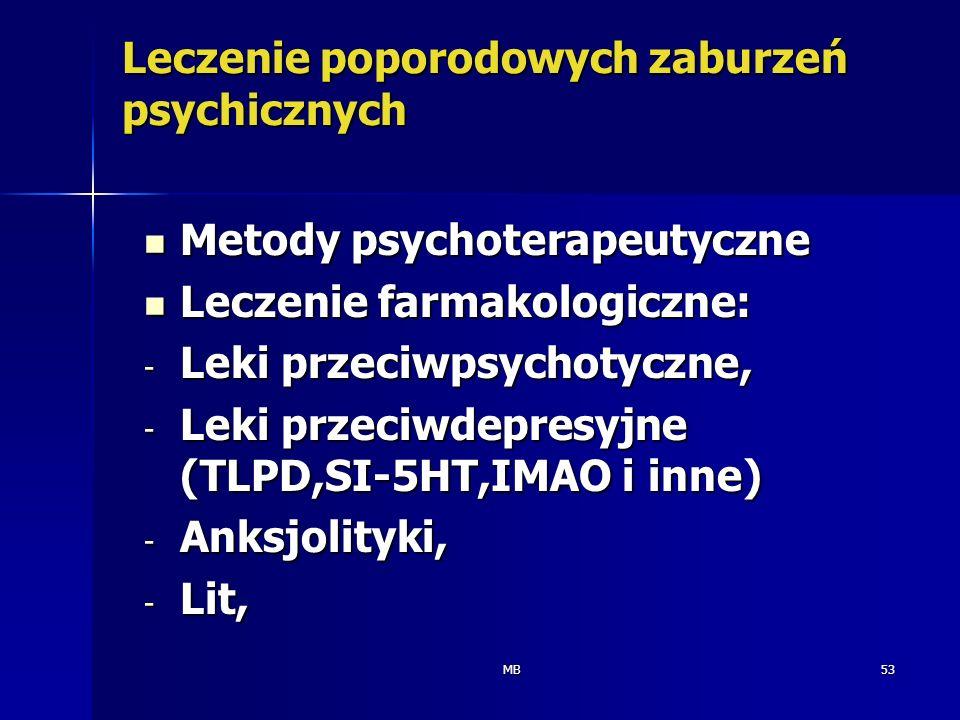MB53 Leczenie poporodowych zaburzeń psychicznych Metody psychoterapeutyczne Metody psychoterapeutyczne Leczenie farmakologiczne: Leczenie farmakologic