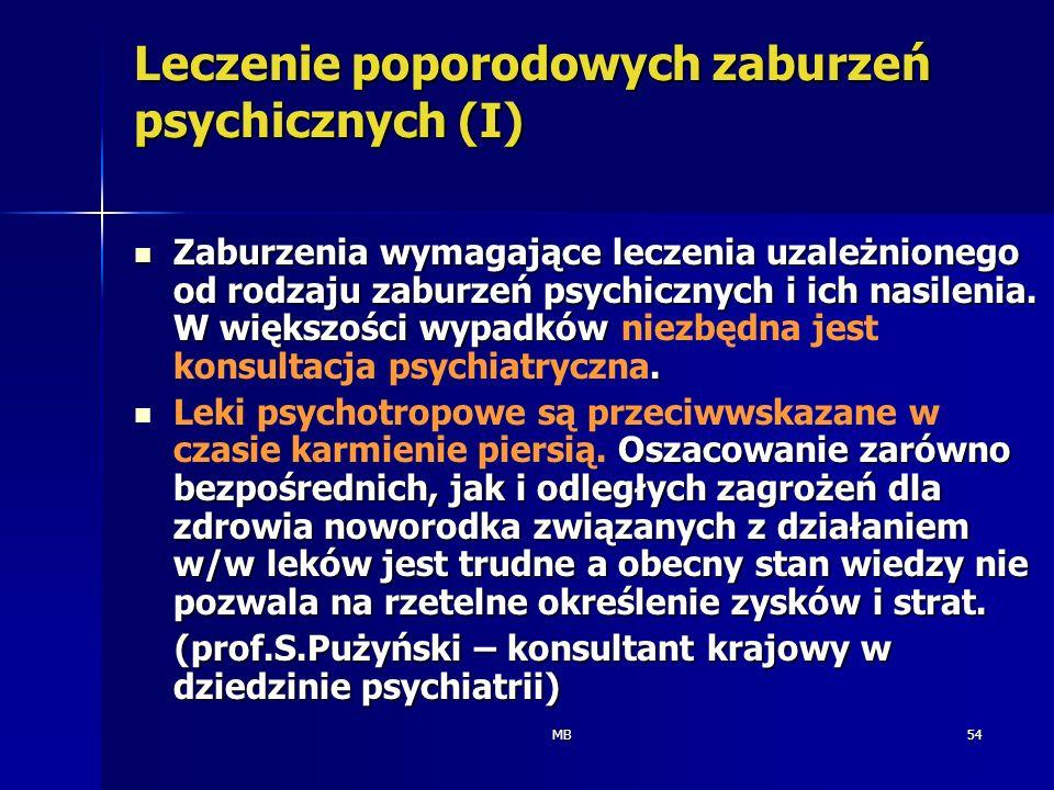 MB54 Leczenie poporodowych zaburzeń psychicznych (I) Zaburzenia wymagające leczenia uzależnionego od rodzaju zaburzeń psychicznych i ich nasilenia. W