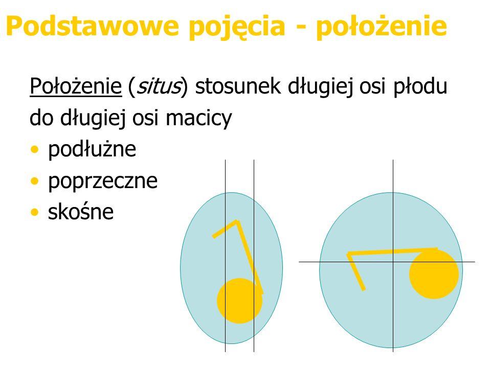 Podstawowe pojęcia - położenie Położenie (situs) stosunek długiej osi płodu do długiej osi macicy podłużne poprzeczne skośne