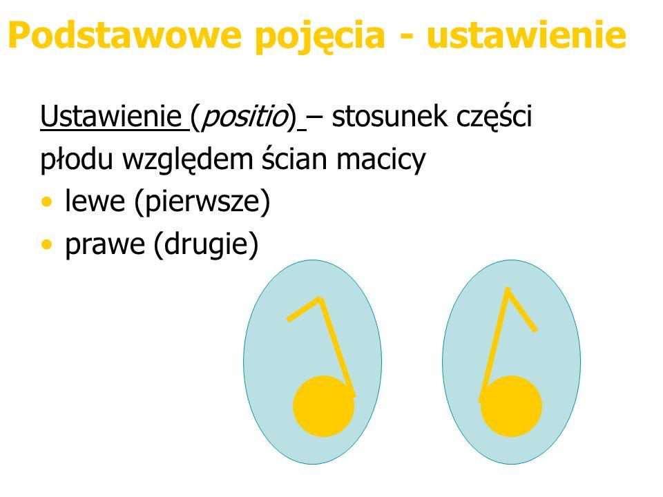 Podstawowe pojęcia - ustawienie Ustawienie (positio) – stosunek części płodu względem ścian macicy lewe (pierwsze) prawe (drugie)