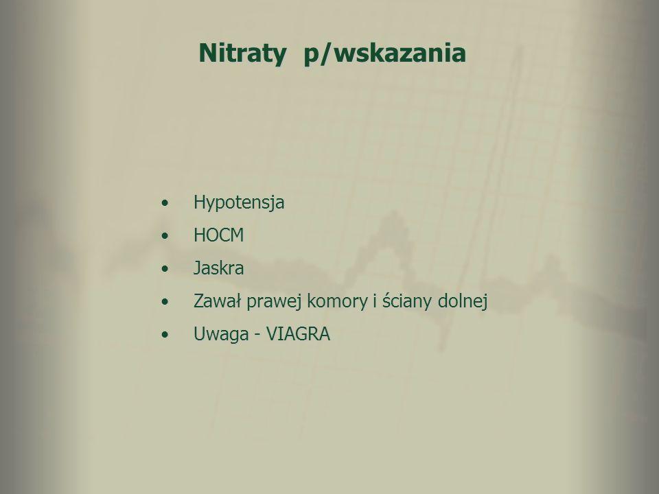 Nitraty p/wskazania HypotensjaHypotensja HOCMHOCM JaskraJaskra Zawał prawej komory i ściany dolnejZawał prawej komory i ściany dolnej Uwaga - VIAGRAUw