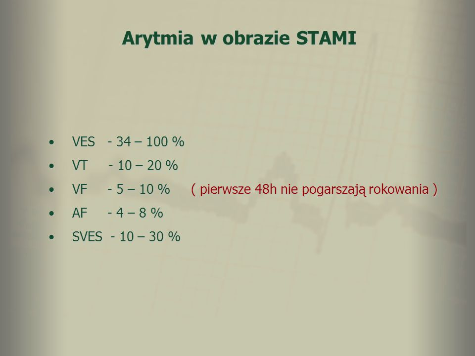 Arytmia w obrazie STAMI VES - 34 – 100 %VES - 34 – 100 % VT - 10 – 20 %VT - 10 – 20 % VF - 5 – 10 %( pierwsze 48h nie pogarszają rokowania )VF - 5 – 1