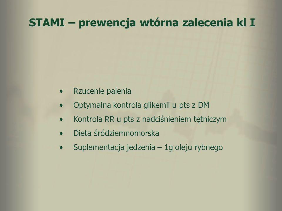 STAMI – prewencja wtórna zalecenia kl I Rzucenie paleniaRzucenie palenia Optymalna kontrola glikemii u pts z DMOptymalna kontrola glikemii u pts z DM