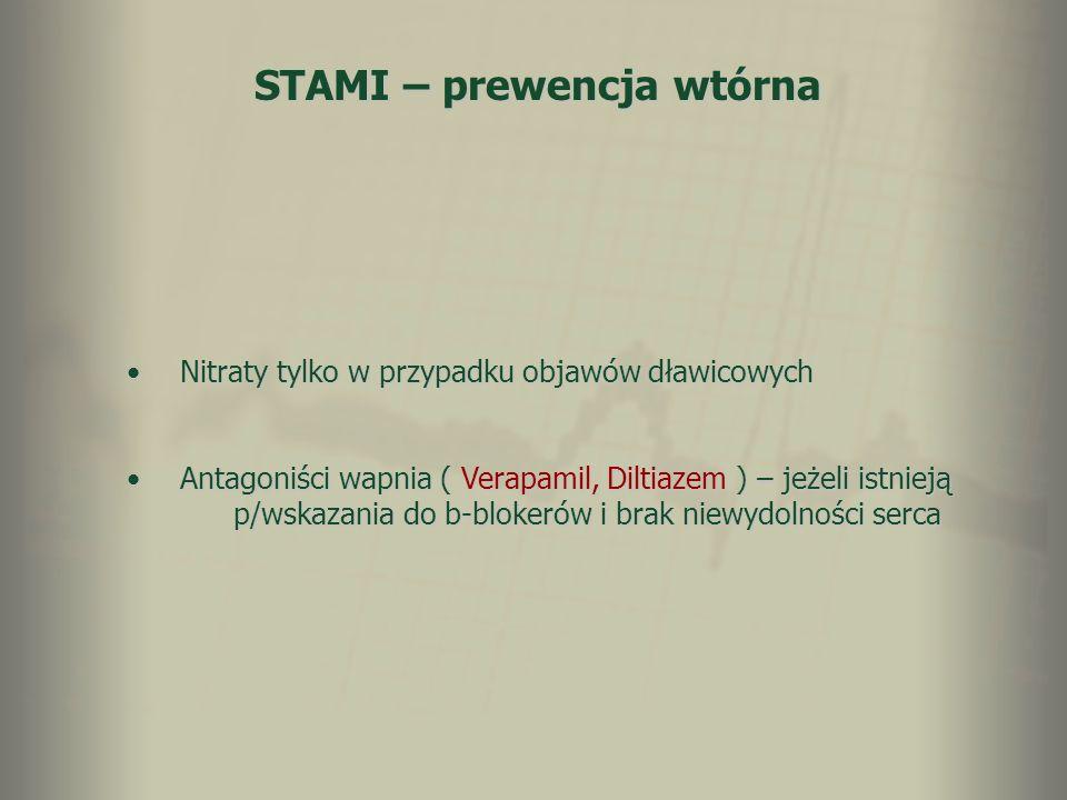 STAMI – prewencja wtórna Nitraty tylko w przypadku objawów dławicowychNitraty tylko w przypadku objawów dławicowych Antagoniści wapnia ( Verapamil, Di