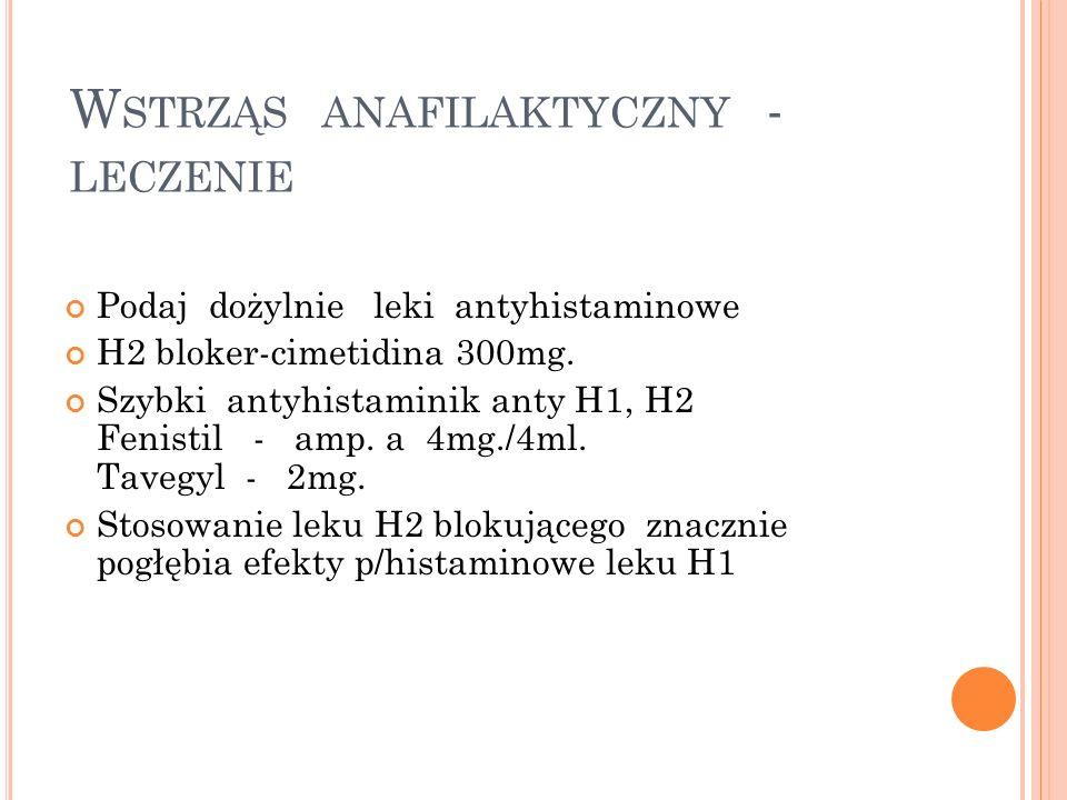 W STRZĄS ANAFILAKTYCZNY - LECZENIE Podaj dożylnie leki antyhistaminowe H2 bloker-cimetidina 300mg. Szybki antyhistaminik anty H1, H2 Fenistil - amp. a