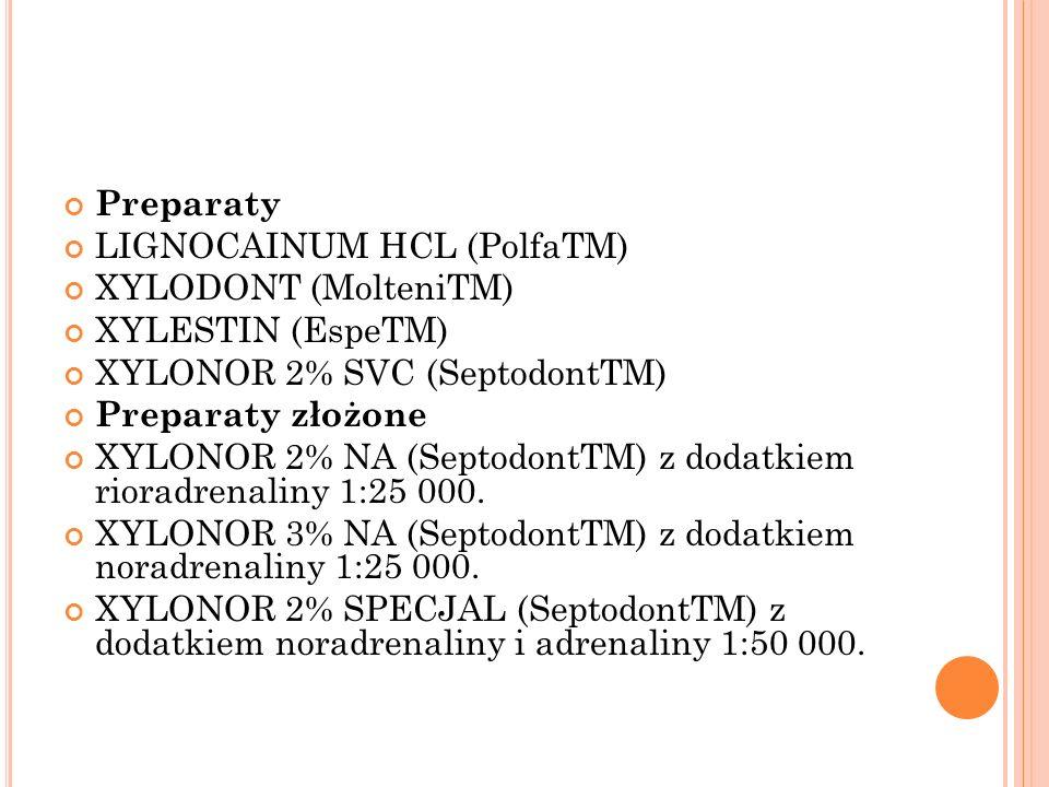 Preparaty LIGNOCAINUM HCL (PolfaTM) XYLODONT (MolteniTM) XYLESTIN (EspeTM) XYLONOR 2% SVC (SeptodontTM) Preparaty złożone XYLONOR 2% NA (SeptodontTM)