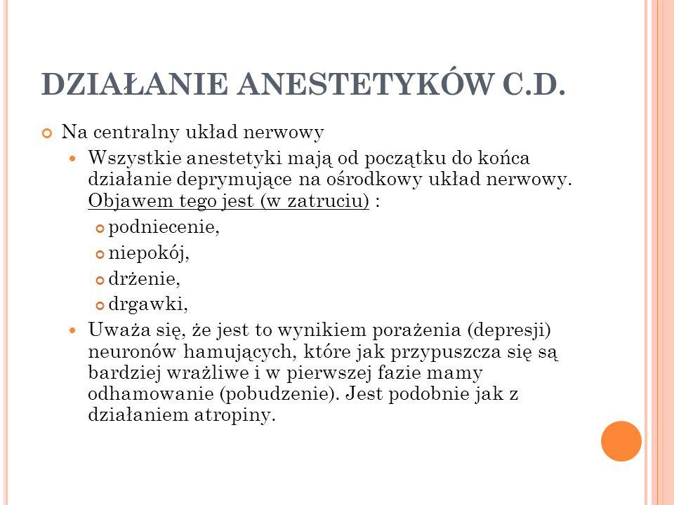 DZIAŁANIE ANESTETYKÓW C.D. Na centralny układ nerwowy Wszystkie anestetyki mają od początku do końca działanie deprymujące na ośrodkowy układ nerwowy.