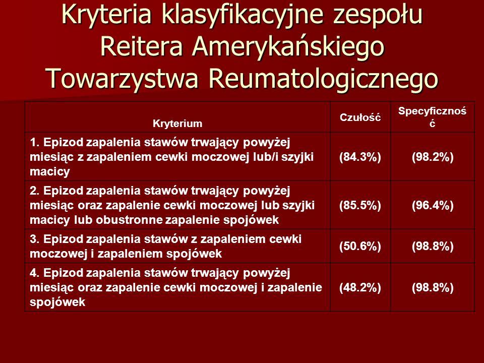 Kryteria klasyfikacyjne zespołu Reitera Amerykańskiego Towarzystwa Reumatologicznego Kryterium Czułość Specyficznoś ć 1. Epizod zapalenia stawów trwaj