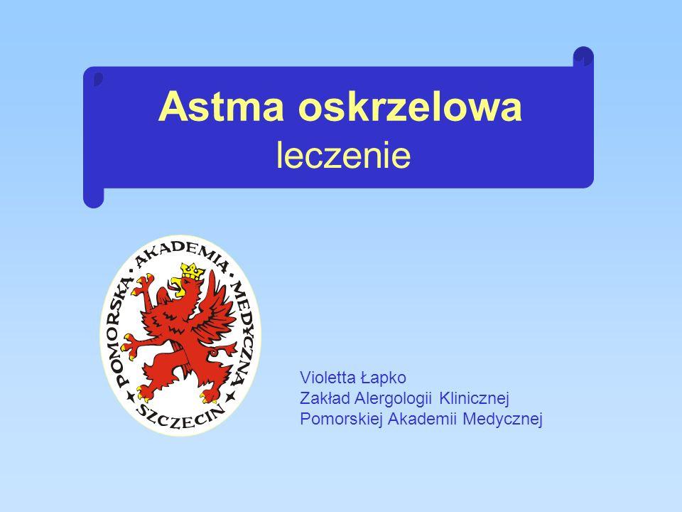 Sześciopunktowy program leczenia astmy Zapewnienie stałej opieki ambulatoryjnej Opracowanie planu leczenia zaostrzeń Opracowanie planu leczenia przewlekłego Kontrolowanie czynników wywołujących zaostrzenia Ocena i monitorowanie ciężkości astmy Edukacja chorego i jego rodziny
