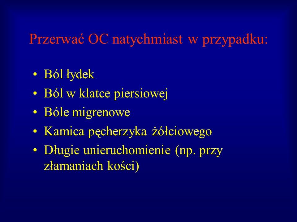 Przerwać OC natychmiast w przypadku: Ból łydek Ból w klatce piersiowej Bóle migrenowe Kamica pęcherzyka żółciowego Długie unieruchomienie (np. przy zł