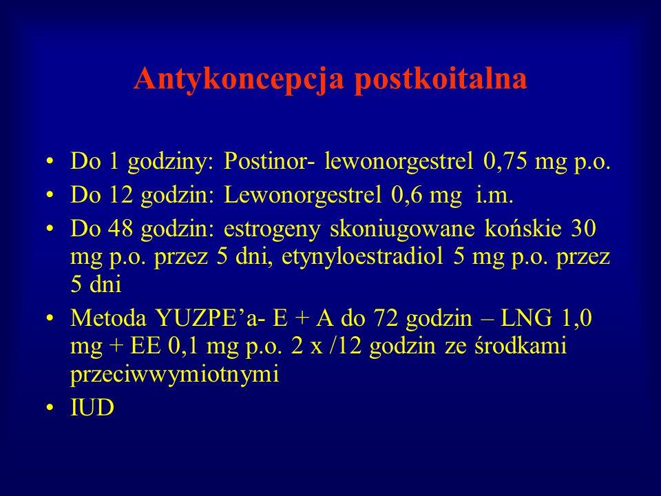 Antykoncepcja postkoitalna Do 1 godziny: Postinor- lewonorgestrel 0,75 mg p.o. Do 12 godzin: Lewonorgestrel 0,6 mg i.m. Do 48 godzin: estrogeny skoniu