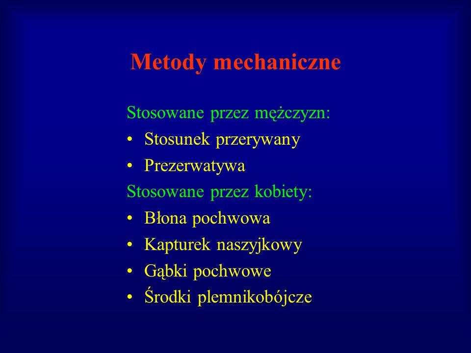 Metody mechaniczne Stosowane przez mężczyzn: Stosunek przerywany Prezerwatywa Stosowane przez kobiety: Błona pochwowa Kapturek naszyjkowy Gąbki pochwo