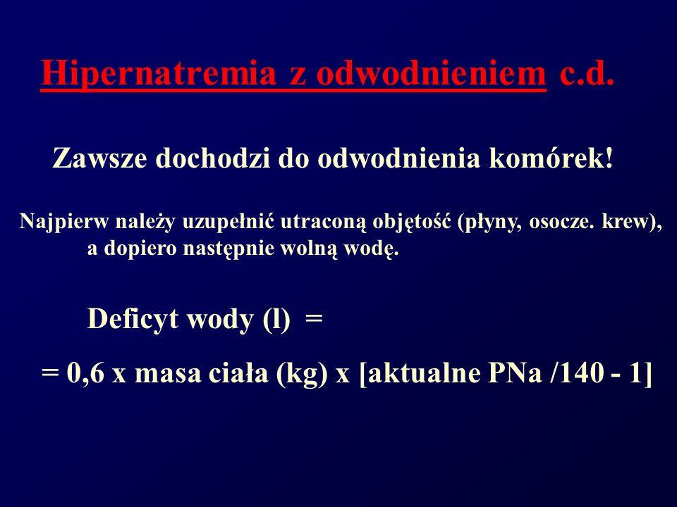Hipernatremia z odwodnieniem c.d. Zawsze dochodzi do odwodnienia komórek! Najpierw należy uzupełnić utraconą objętość (płyny, osocze. krew), a dopiero