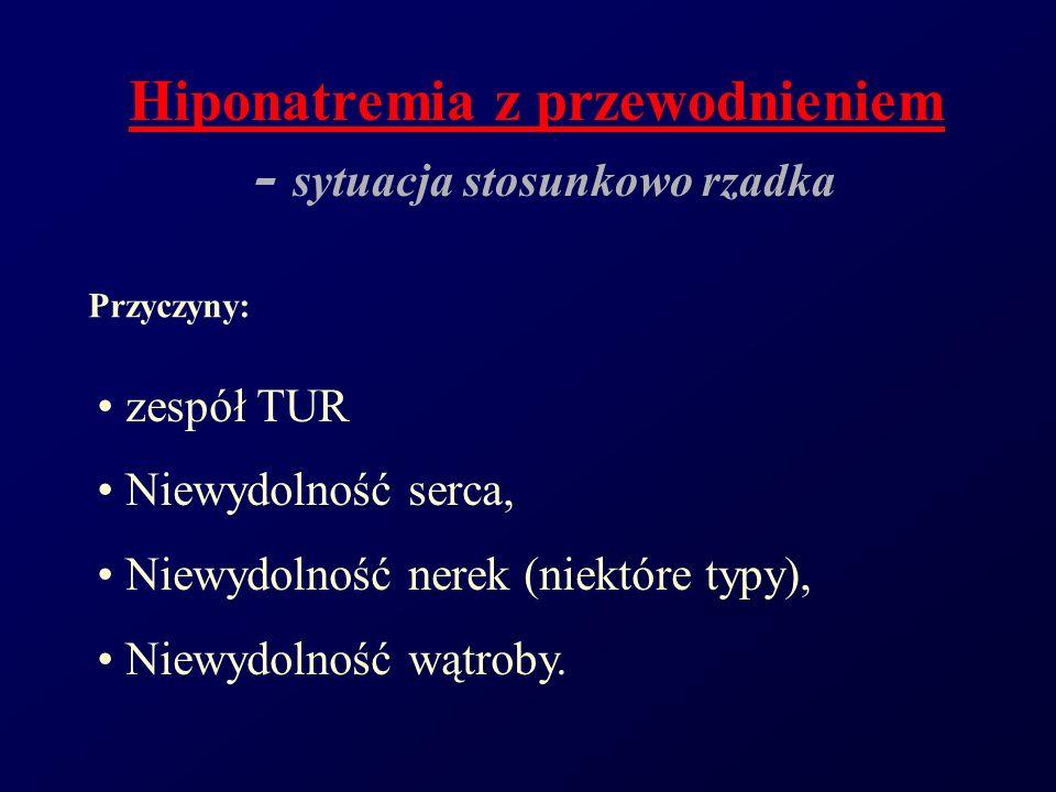 Hiponatremia z przewodnieniem - sytuacja stosunkowo rzadka zespół TUR Niewydolność serca, Niewydolność nerek (niektóre typy), Niewydolność wątroby. Pr