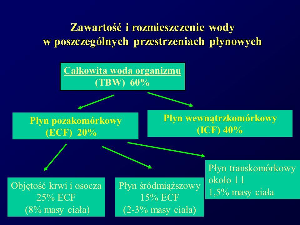 Zawartość wody - Płyn transkomórkowy W niektórych stanach patologicznych np.: –płyn wświetle przewodu pokarmowego –wysięki opłucnowe –wodobrzusze Powiększona przestrzeń zajmowana przez płyn transkomórkowy,który nie ulega łatwej wymianie z resztą ECF Trzecia przestrzeń
