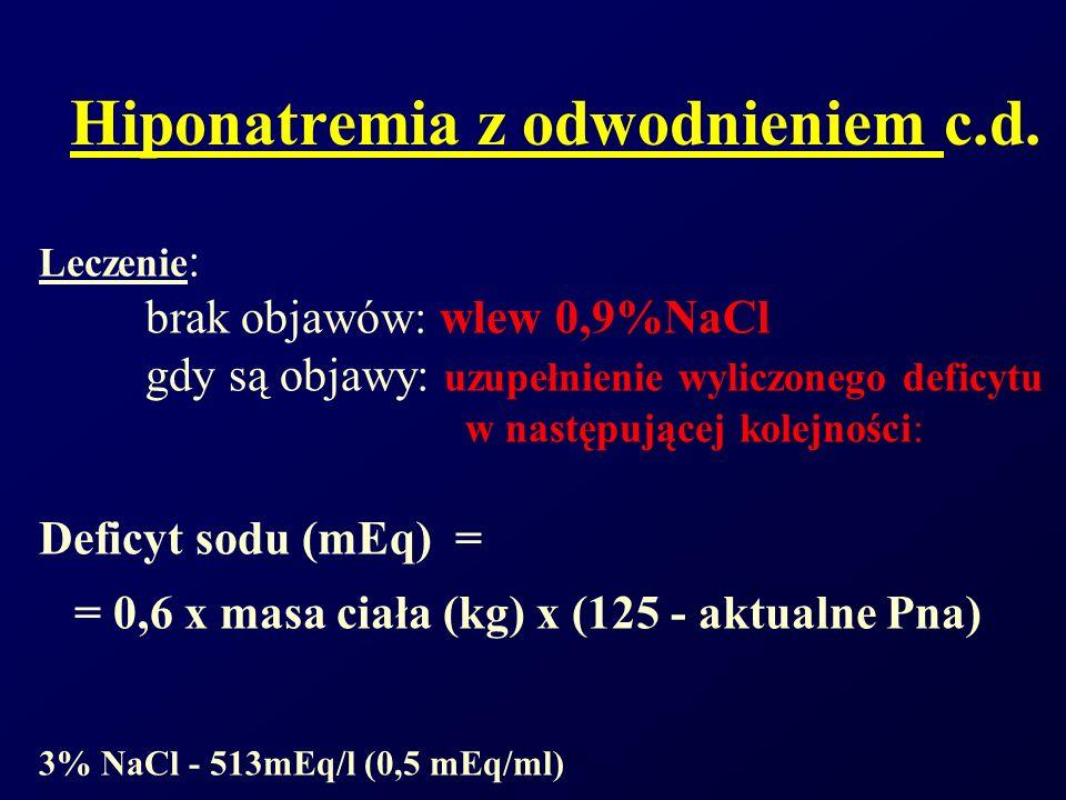 Hiponatremia z odwodnieniem c.d. Leczenie : brak objawów: wlew 0,9%NaCl gdy są objawy: uzupełnienie wyliczonego deficytu w następującej kolejności: De