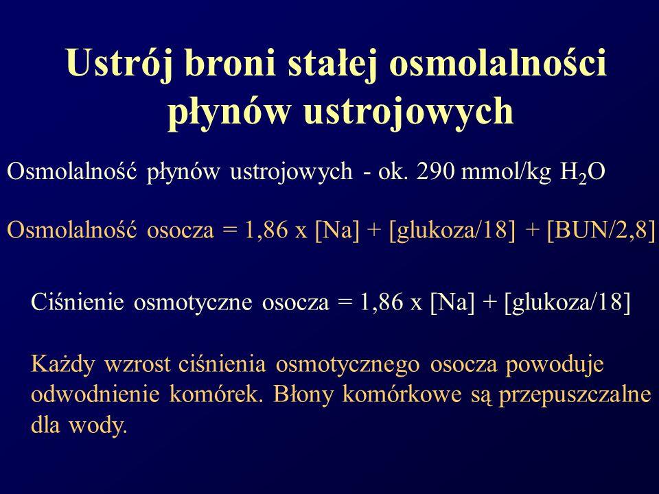 Osmolalność płynów ustrojowych - ok. 290 mmol/kg H 2 O Ustrój broni stałej osmolalności płynów ustrojowych Osmolalność osocza = 1,86 x [Na] + [glukoza