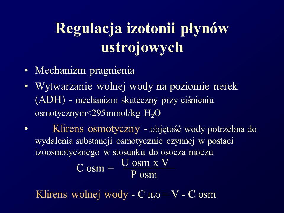 Regulacja izotonii płynów ustrojowych Mechanizm pragnienia Wytwarzanie wolnej wody na poziomie nerek (ADH) - mechanizm skuteczny przy ciśnieniu osmoty