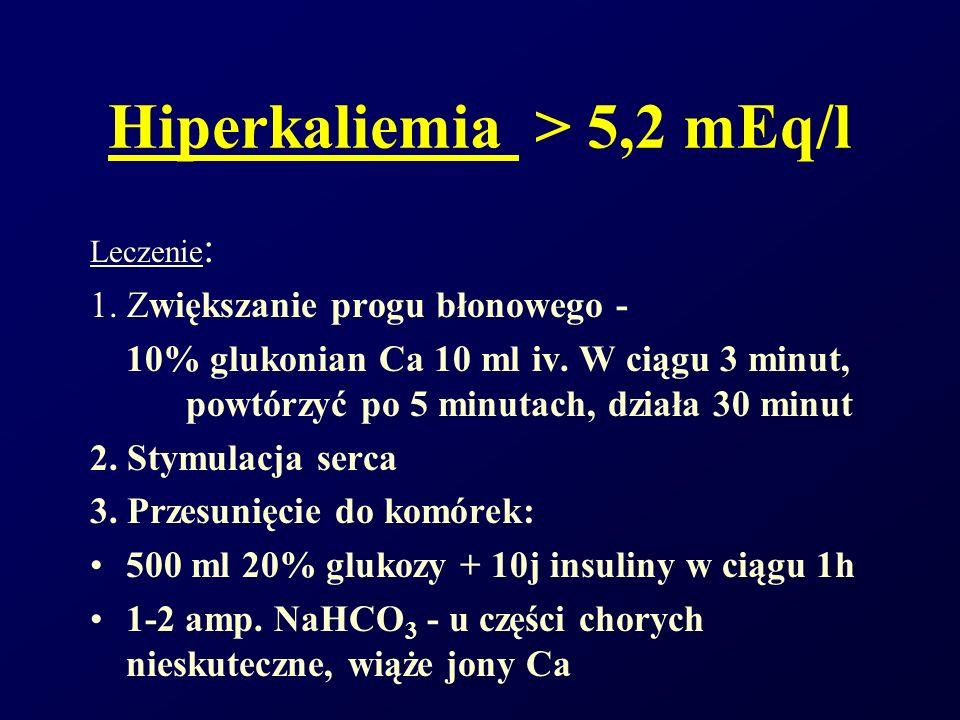 Hiperkaliemia > 5,2 mEq/l Leczenie : 1. Zwiększanie progu błonowego - 10% glukonian Ca 10 ml iv. W ciągu 3 minut, powtórzyć po 5 minutach, działa 30 m