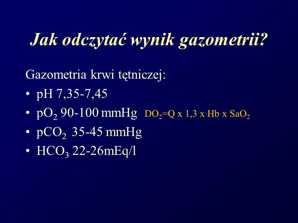 Gazometria krwi tętniczej: pH 7,35-7,45 pO 2 90-100 mmHg DO 2 =Q x 1,3 x Hb x SaO 2 pCO 2 35-45 mmHg HCO 3 22-26mEq/l Jak odczytać wynik gazometrii?