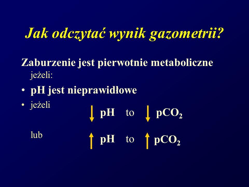Zaburzenie jest pierwotnie metaboliczne jeżeli: pH jest nieprawidłowe jeżeli lub pH topCO 2 pH to pCO 2