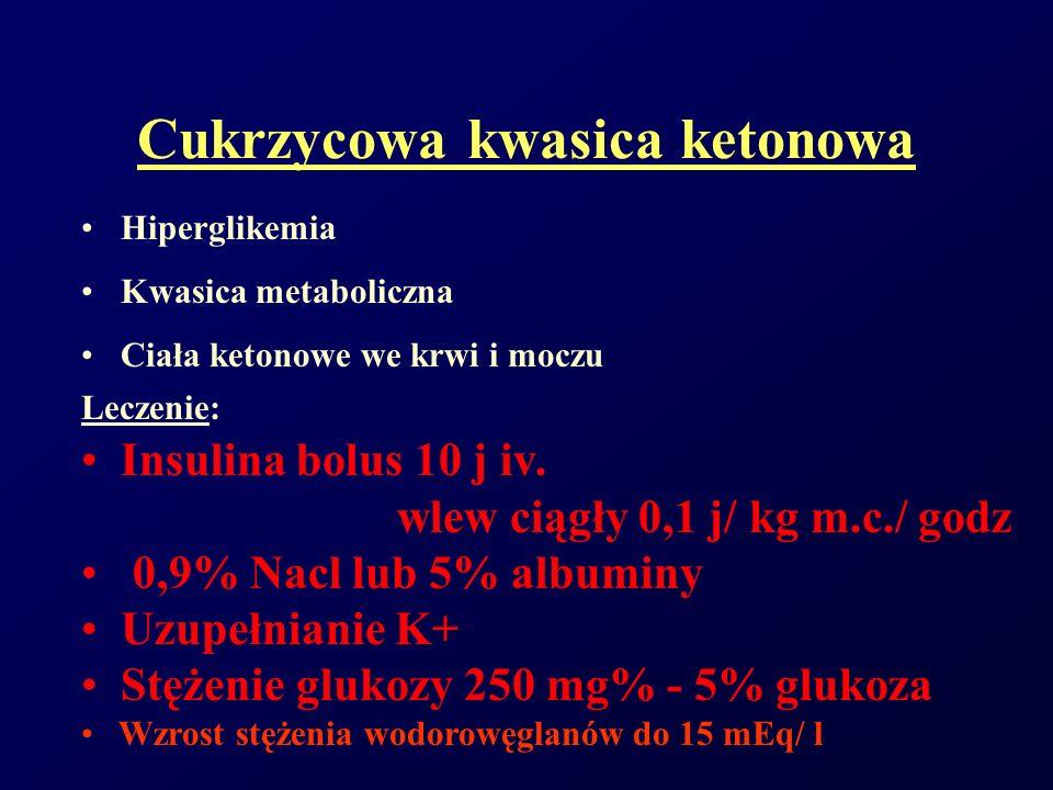Cukrzycowa kwasica ketonowa Hiperglikemia Kwasica metaboliczna Ciała ketonowe we krwi i moczu Leczenie: Insulina bolus 10 j iv. wlew ciągły 0,1 j/ kg