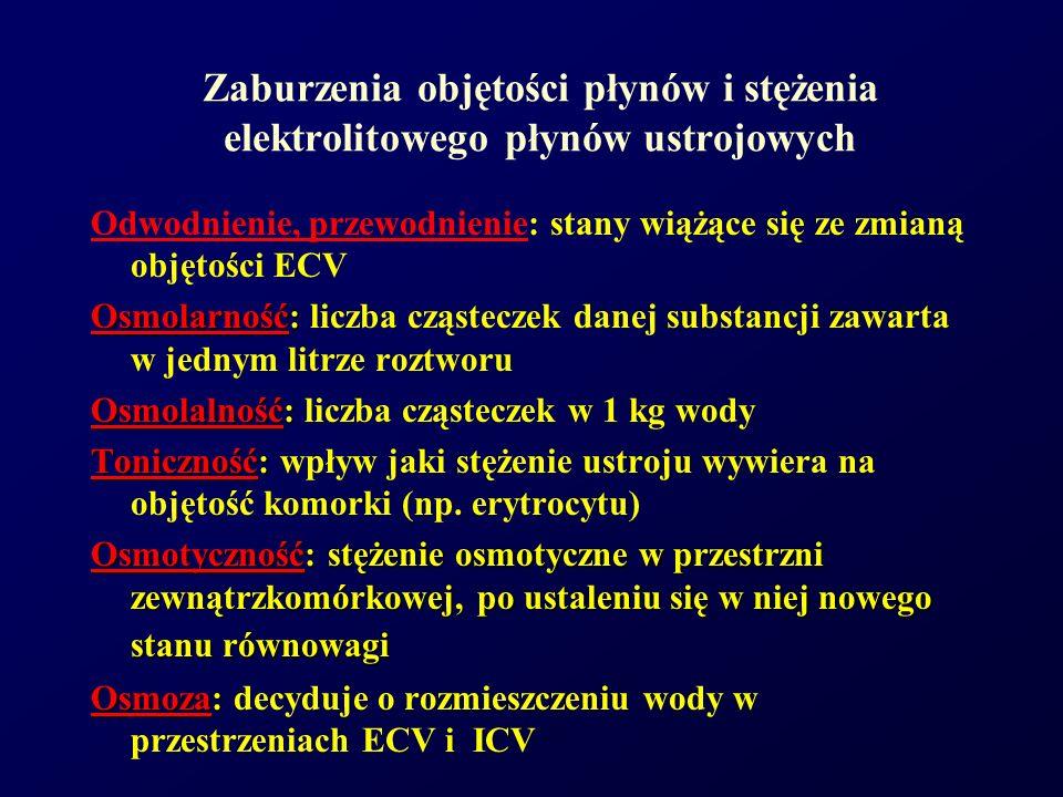 Regulacja izotonii płynów ustrojowych Mechanizm pragnienia Wytwarzanie wolnej wody na poziomie nerek (ADH) - mechanizm skuteczny przy ciśnieniu osmotycznym<295mmol/kg H 2 O Klirens osmotyczny - objętość wody potrzebna do wydalenia substancji osmotycznie czynnej w postaci izoosmotycznego w stosunku do osocza moczu Klirens wolnej wody - C H 2 O = V - C osm C osm = P osm U osm x V