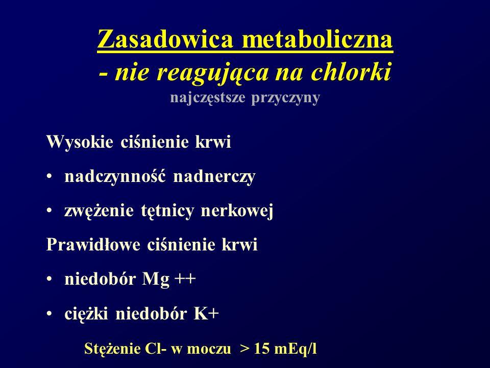 Zasadowica metaboliczna - nie reagująca na chlorki najczęstsze przyczyny Wysokie ciśnienie krwi nadczynność nadnerczy zwężenie tętnicy nerkowej Prawid