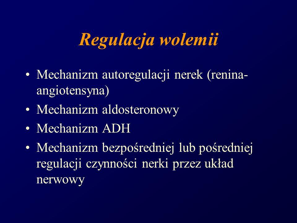 Regulacja wolemii Mechanizm autoregulacji nerek (renina- angiotensyna) Mechanizm aldosteronowy Mechanizm ADH Mechanizm bezpośredniej lub pośredniej re