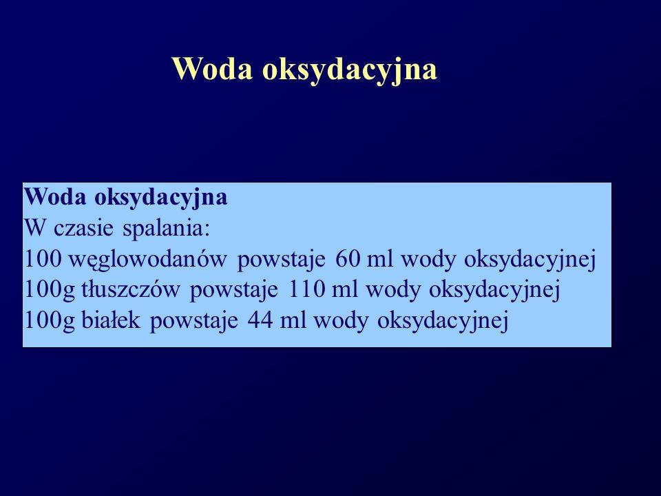 Woda oksydacyjna W czasie spalania: 100 węglowodanów powstaje 60 ml wody oksydacyjnej 100g tłuszczów powstaje 110 ml wody oksydacyjnej 100g białek pow