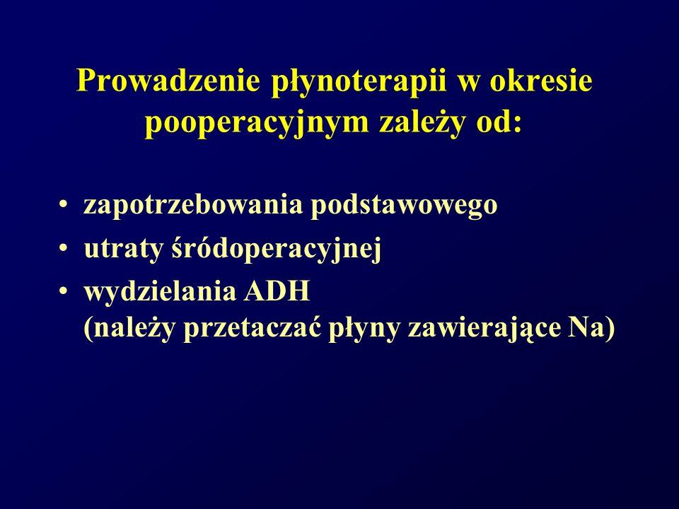 Prowadzenie płynoterapii w okresie pooperacyjnym zależy od: zapotrzebowania podstawowego utraty śródoperacyjnej wydzielania ADH (należy przetaczać pły