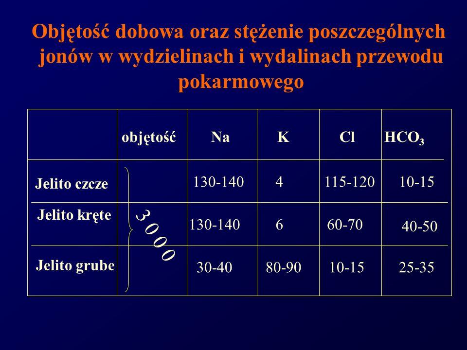 Objętość dobowa oraz stężenie poszczególnych jonów w wydzielinach i wydalinach przewodu pokarmowego objętośćNaKClHCO 3 Jelito czcze Jelito kręte Jelit