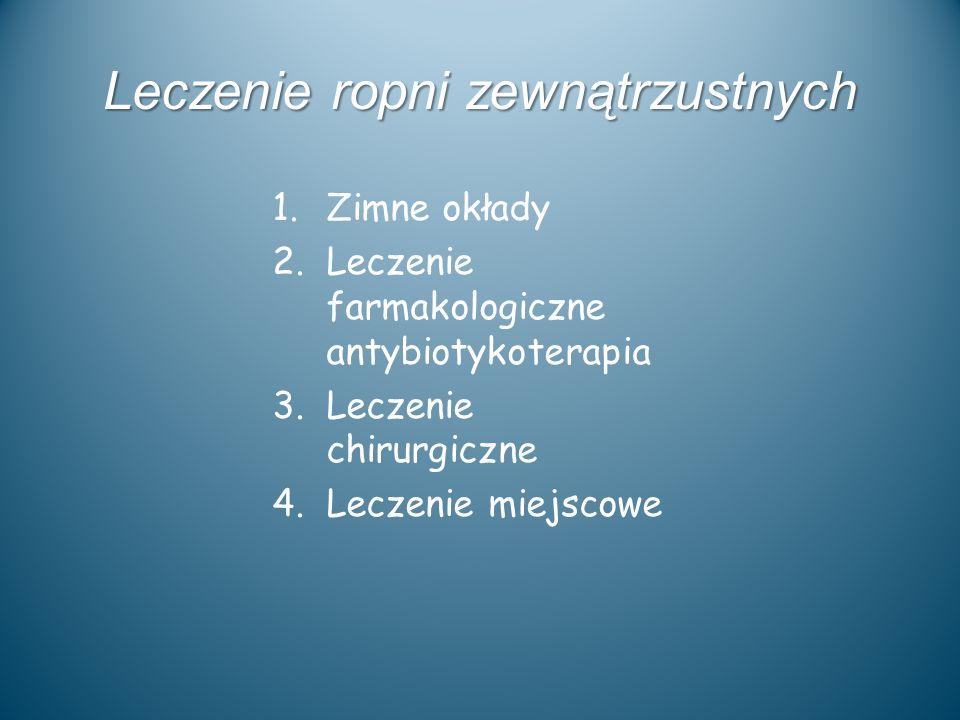 Leczenie ropni zewnątrzustnych 1.Zimne okłady 2.Leczenie farmakologiczne antybiotykoterapia 3.Leczenie chirurgiczne 4.Leczenie miejscowe