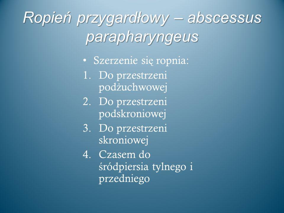 Ropień przygardłowy – abscessus parapharyngeus Szerzenie si ę ropnia: 1.Do przestrzeni pod ż uchwowej 2.Do przestrzeni podskroniowej 3.Do przestrzeni