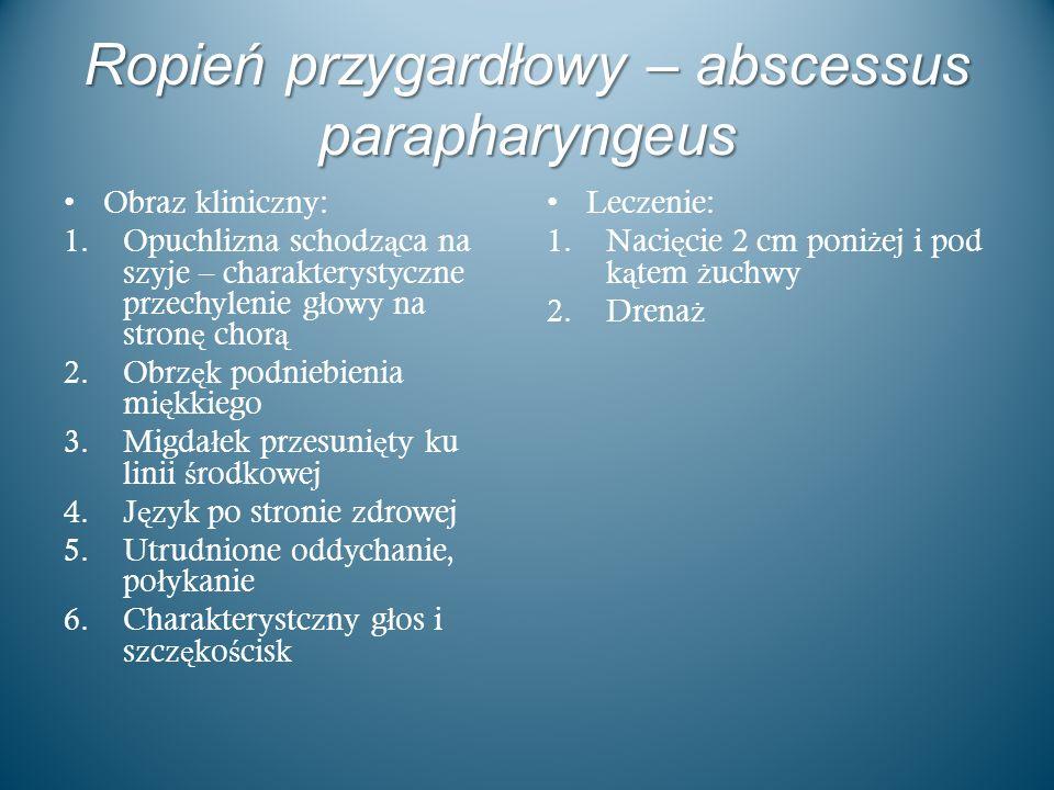 Ropień przygardłowy – abscessus parapharyngeus Obraz kliniczny: 1.Opuchlizna schodz ą ca na szyje – charakterystyczne przechylenie g ł owy na stron ę