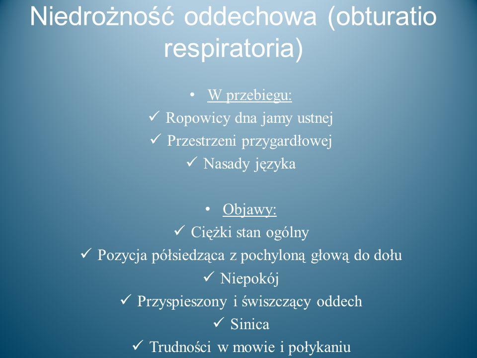 Niedrożność oddechowa (obturatio respiratoria) W przebiegu: Ropowicy dna jamy ustnej Przestrzeni przygardłowej Nasady języka Objawy: Ciężki stan ogóln
