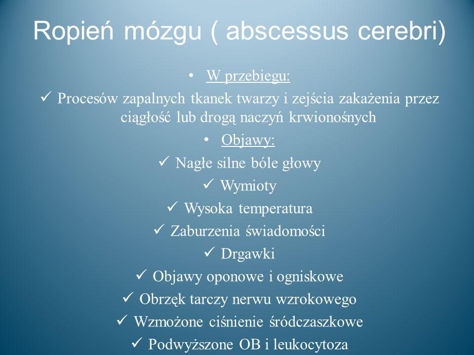 Ropień mózgu ( abscessus cerebri) W przebiegu: Procesów zapalnych tkanek twarzy i zejścia zakażenia przez ciągłość lub drogą naczyń krwionośnych Objaw