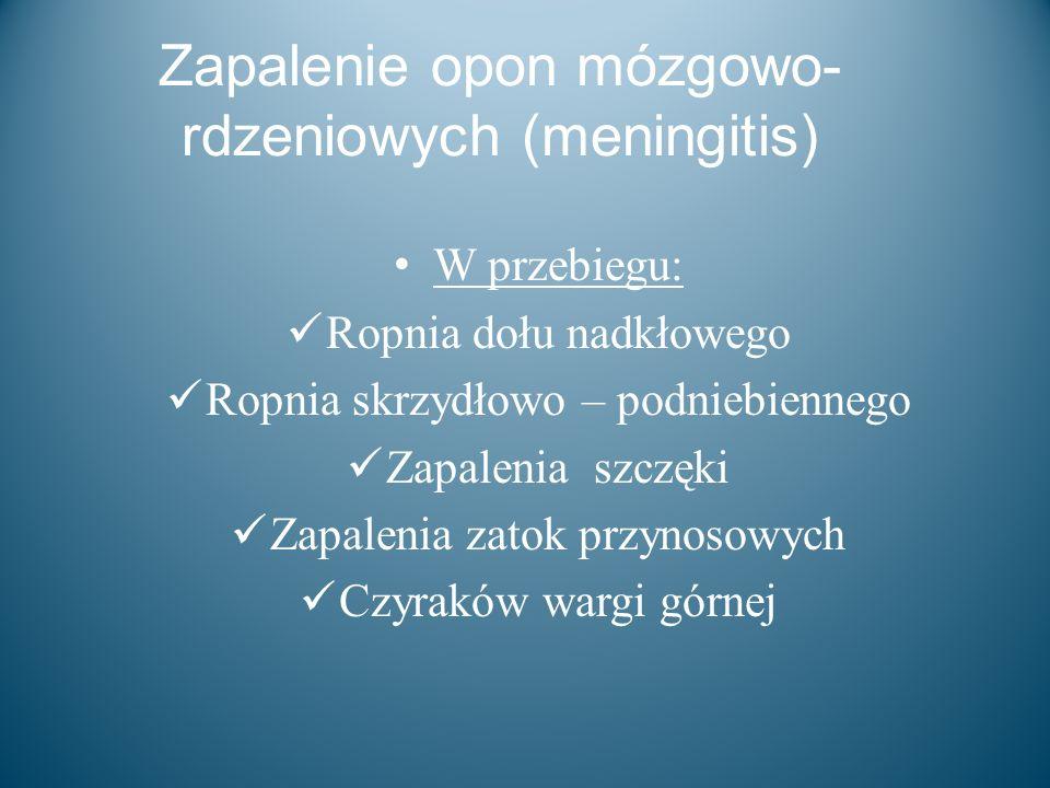 Zapalenie opon mózgowo- rdzeniowych (meningitis) W przebiegu: Ropnia dołu nadkłowego Ropnia skrzydłowo – podniebiennego Zapalenia szczęki Zapalenia za