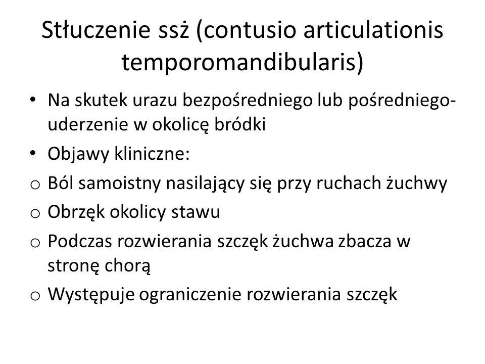 Stłuczenie ssż (contusio articulationis temporomandibularis) Na skutek urazu bezpośredniego lub pośredniego- uderzenie w okolicę bródki Objawy klinicz