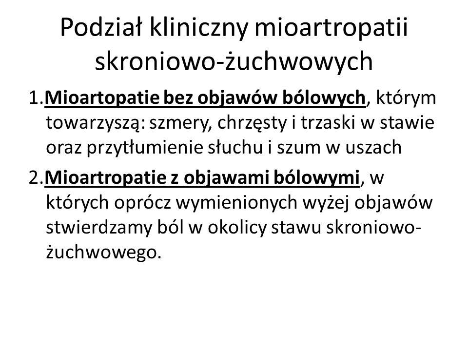 Podział kliniczny mioartropatii skroniowo-żuchwowych 1.Mioartopatie bez objawów bólowych, którym towarzyszą: szmery, chrzęsty i trzaski w stawie oraz
